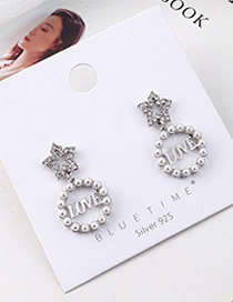 Fashion Platinum Plated Gold Five-star Pearl S925 Silver Needle Earrings