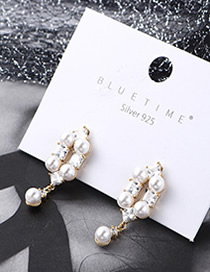 Fashion 14k Gold Plated Gold Pearl Zircon S925 Silver Needle Earrings