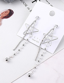 Fashion Platinum Plated Gold Love Five-star Tassel S925 Silver Needle Earrings