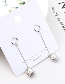 Fashion Platinum Plated Gold Fringed Shell Pearl S925 Silver Needle Earrings