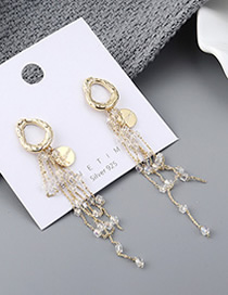 Fashion 14k Gold Plated Gold Fringed S925 Silver Needle Earrings