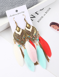 Fashion Color Fringed Feather Earrings