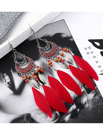Fashion Red Feather Earrings