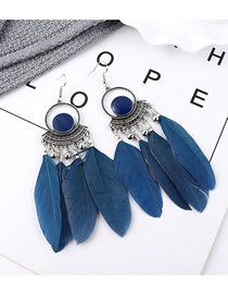 Fashion Dark Blue Feather Earrings