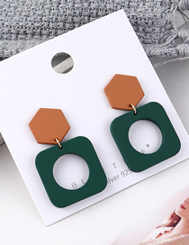 Fashion Coffee + Green Plated Gold Square Hollow S925 Silver Needle Stud Earrings