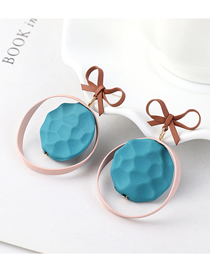 Fashion Powder + Blue + Coffee Plated Gold Frosted Bow Oval S925 Silver Needle Stud Earrings