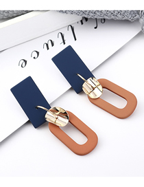 Fashion Dark Blue + Coffee Plated Gold Matte Rectangular S925 Silver Needle Stud Earrings