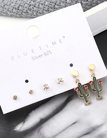 Fashion Gold Plated Gold Cactus Tree S925 Silver Needle Stud Earrings