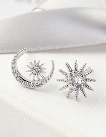 Fashion Silver Plated Gold Moon Sun S925 Silver Needle Stud Earrings