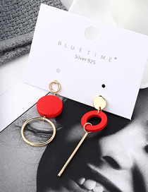 Fashion Red Plated Gold Round Asymmetrical S925 Silver Needle Stud Earrings