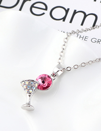 Fashion Rose Red Small Glass Crystal Necklace