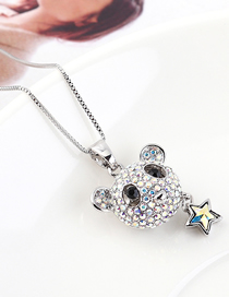 Fashion Colorful White Little Bear Star Crystal Necklace