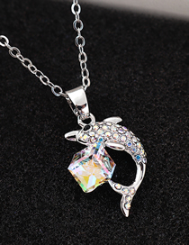 Fashion Colorful White Dolphin Crystal Crystal Necklace