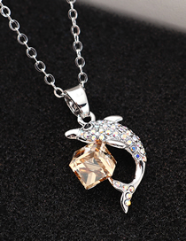 Fashion Golden Phantom Dolphin Crystal Crystal Necklace