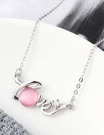 Fashion Pink Crystal Opal C Necklace - Star Color