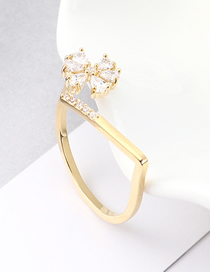 Fashion 14k Gold Zircon Ring - Flowery