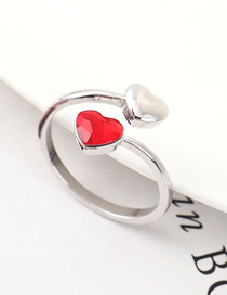 Fashion Light Red Crystal Ring - Heart Love