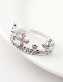 Fashion Platinum Zircon Ring - Crown Ring