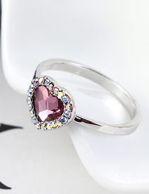 Fashion Classical Pink Crystal Ring - Love Is You And Me
