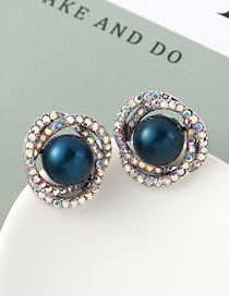 Fashion Blue Light Pearl Stud Earrings - Flower Cluster