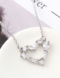 Fashion Platinum Zircon Necklace - Painted Heart