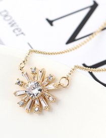 Fashion 14k Gold Zircon Necklace - The Other Side Of The Flower