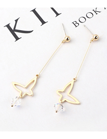 Fashion K Gold Plated Gold Butterfly S925 Silver Needle Stud Earrings