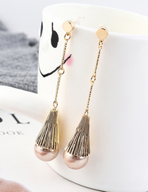 Fashion K Gold Plated Gold Cylinder Pearl S925 Silver Needle Stud Earrings