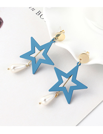 Fashion Blue Plated Gold Frosted Star S925 Silver Needle Stud Earrings