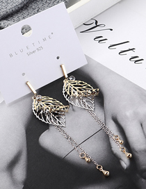Fashion Silver Plated Gold Leaf S925 Silver Needle Stud Earrings