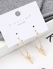 Fashion Gold Plated Gold Spiral Cone S925 Silver Needle Stud Earrings