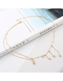 Fashion Gold Tassel Zircon Necklace