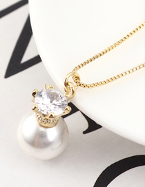 Fashion 14k Gold Pearl Zircon Necklace