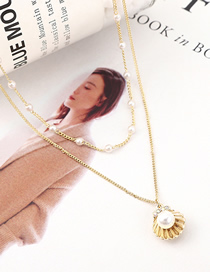 Fashion 14k Gold Shell Pearl Crystal Necklace
