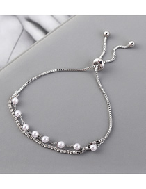 Fashion Platinum Pearl Crystal Bracelet