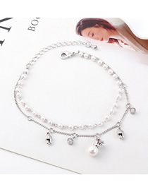 Fashion (platinum) Crown Pearl Zircon Bracelet