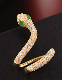 Fashion Gold Copper Micro-inlaid Zircon Snake Single Earring