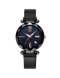 Fashion Black Tape Watch Starry Sky Watch  Electronic Element