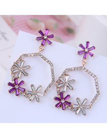 Fashion Gold + Purple Metal Flash Diamond Ring Flower Earrings