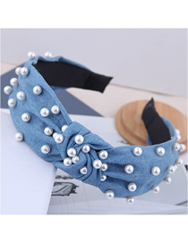 Fashion Light Blue Nail Pearl Denim Fabric Knotted Headband