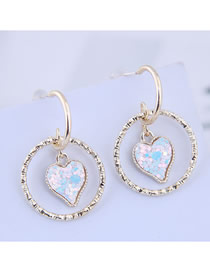 Fashion Blue 925 Silver Needle Circle Love Earrings