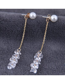 Fashion Gold 925 Silver Needle Zircon Long Earrings