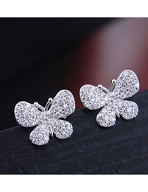 Fashion Silver Inlaid Zircon Butterfly Stud Earrings