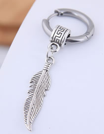 Fashion Silver Titanium Steel Feather Stud Earrings