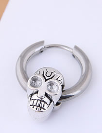 Fashion Silver Titanium Steel Skull Earrings Single