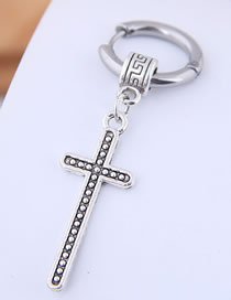 Fashion Silver Titanium Steel Cross Stud Earrings