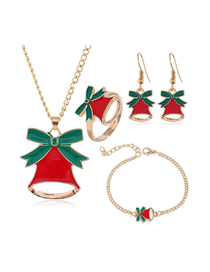 Fashion Gold Metal Christmas Series Four-piece Necklace Earrings Ring Bracelet