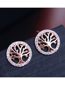 Fashion Gold 925 Silver Needle Copper Micro-inlaid Zircon Christmas Tree Stud Earrings