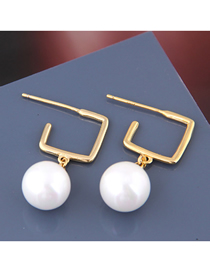 Fashion Gold 925 Silver Needle Square Pearl Stud Earrings