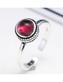 Fashion Silver Gemstone Open Ring